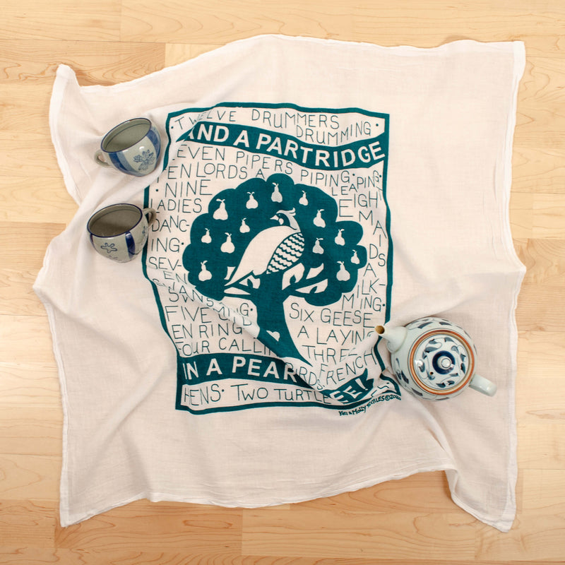 Kei & Molly Partridge Flour Sack Dish Towel in Winter Green with Props