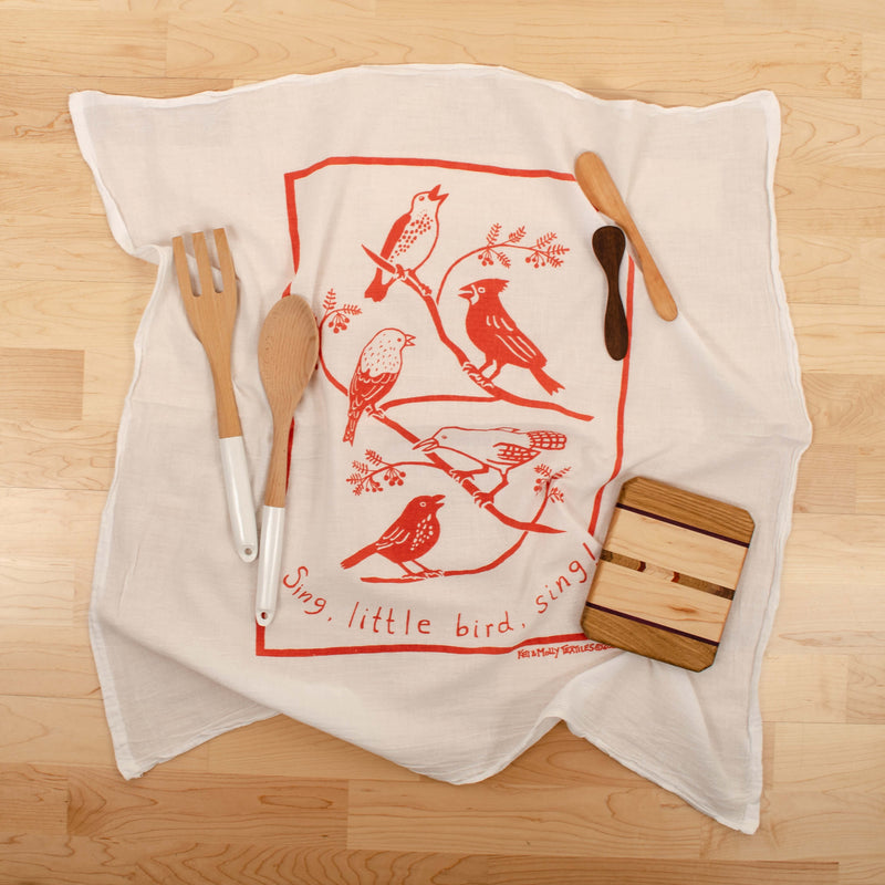 Kei & Molly Songbirds Flour Sack Dish Towel in Desert Coral with Props