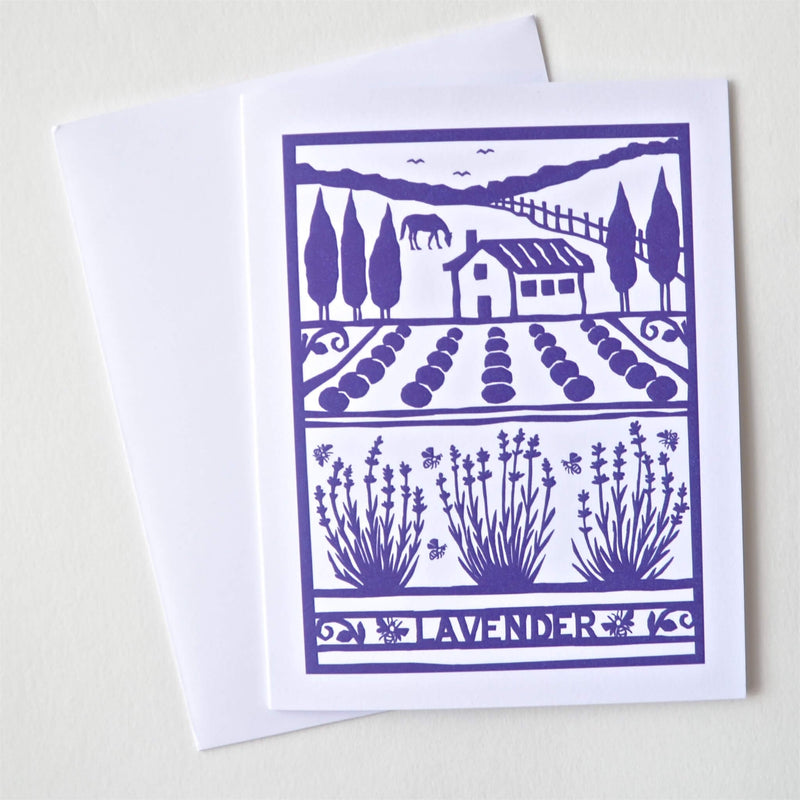 Kei & Molly Lavender Farm Purple Card with Envelope