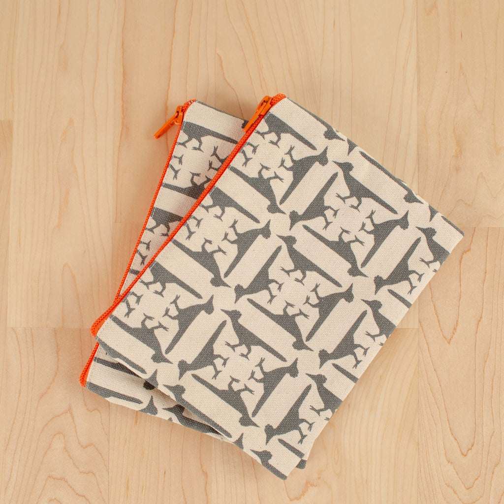 Kei & Molly Cosmetic Bag with Roadrunners Design in Grey Flat View
