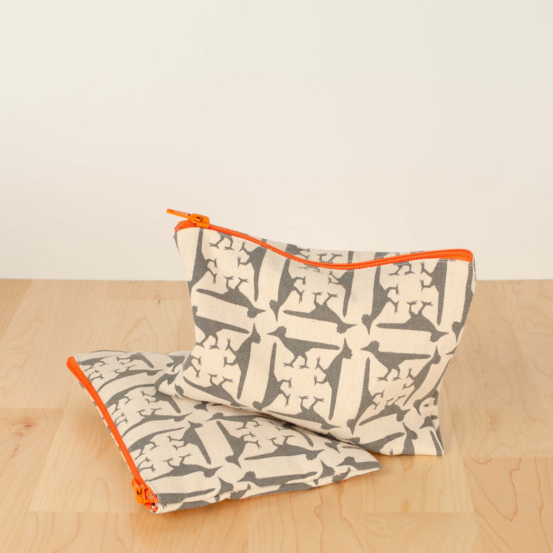 Kei & Molly Cosmetic Bag with Roadrunners Design in Grey