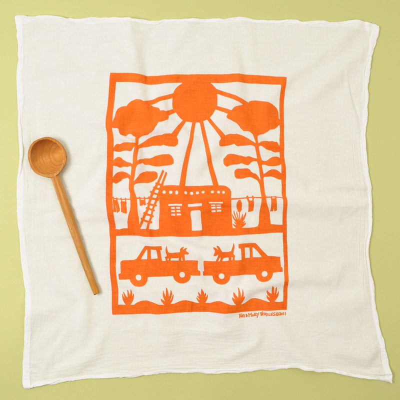 Kei & Molly Adobe House Flour Sack Dish Towel in Orange Full View
