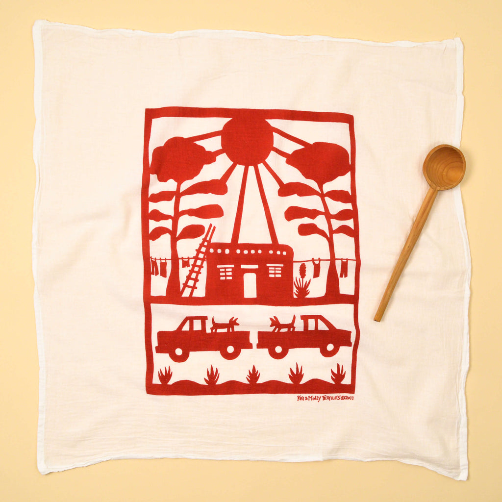 Kei & Molly Adobe House Flour Sack Dish Towel in Red Full View