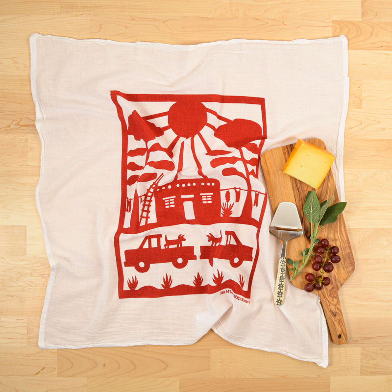 Kei & Molly Adobe House Flour Sack Dish Towel in Red with Props