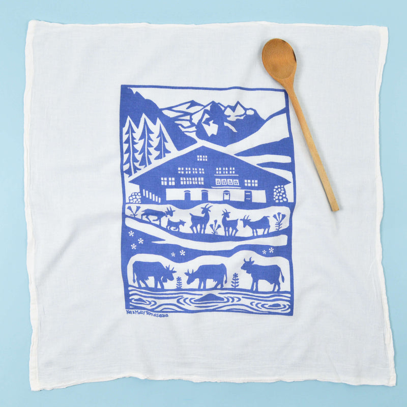 Kei & Molly Alps Flour Sack Dish Towel in Steel Blue Full View