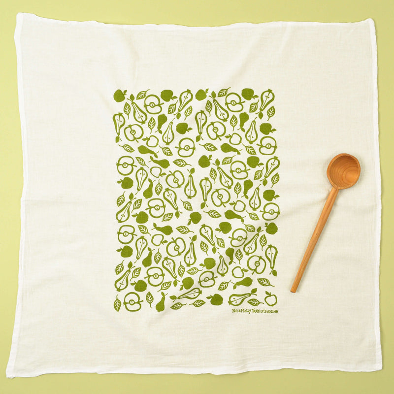 Kei & Molly Apples & Pears Flour Sack Dish Towel in Green Full View