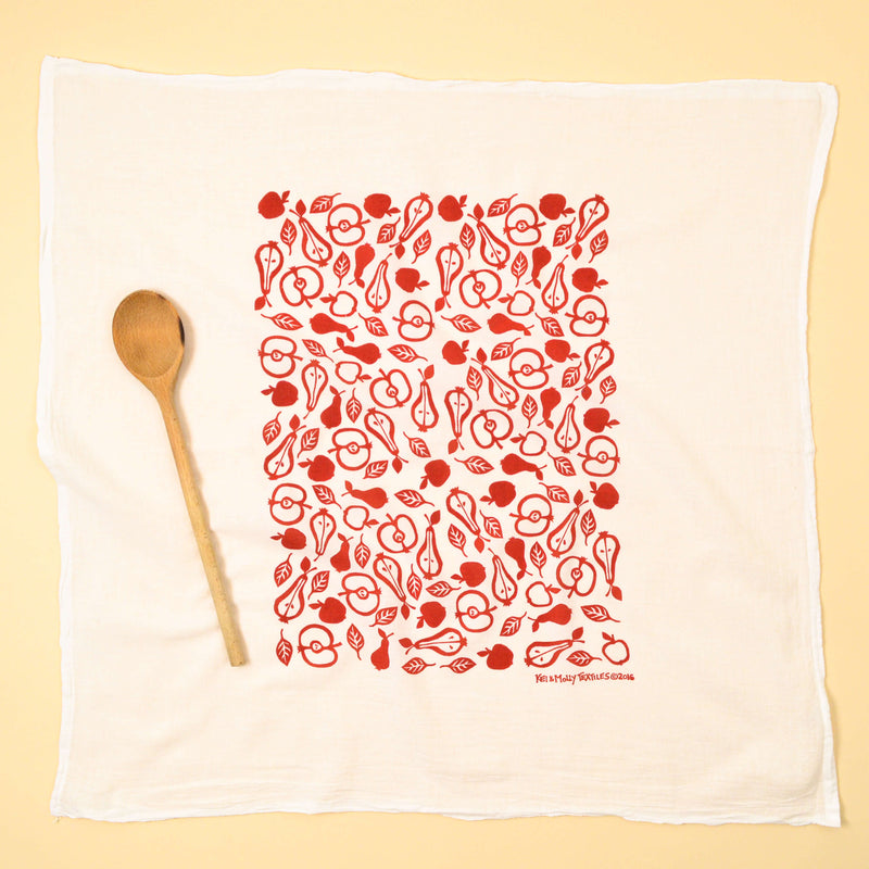 Kei & Molly Apples & Pears Flour Sack Dish Towel in Red Full View