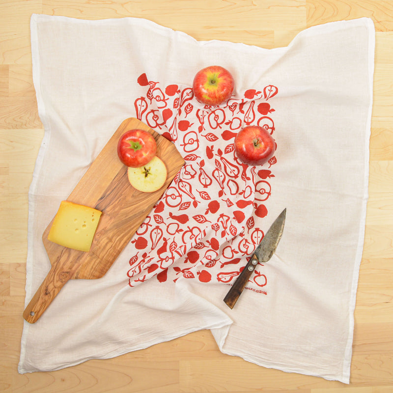 Kei & Molly Apples & Pears Flour Sack Dish Towel in Red with Props