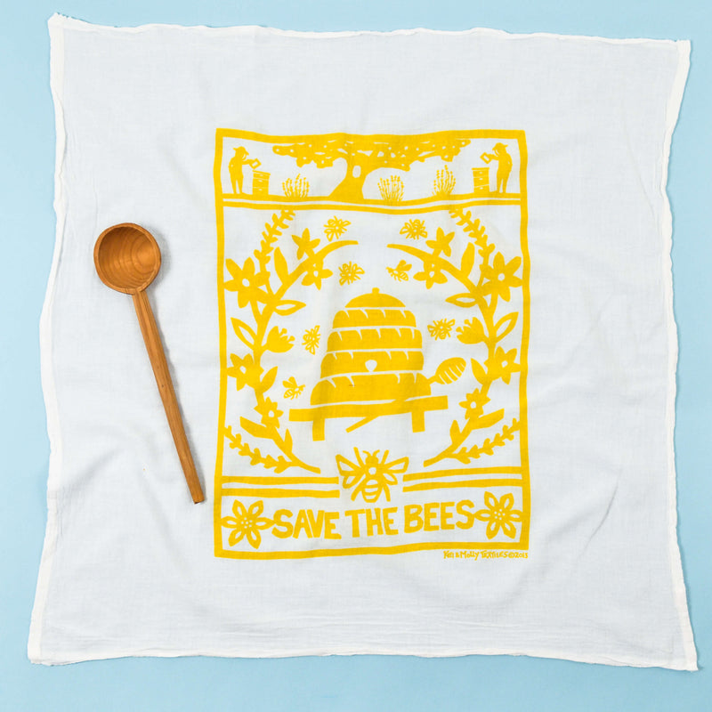 Kei & Molly Gardener's Delight Bundle Bees Flour Sack Dish Towel In Yellow Full View