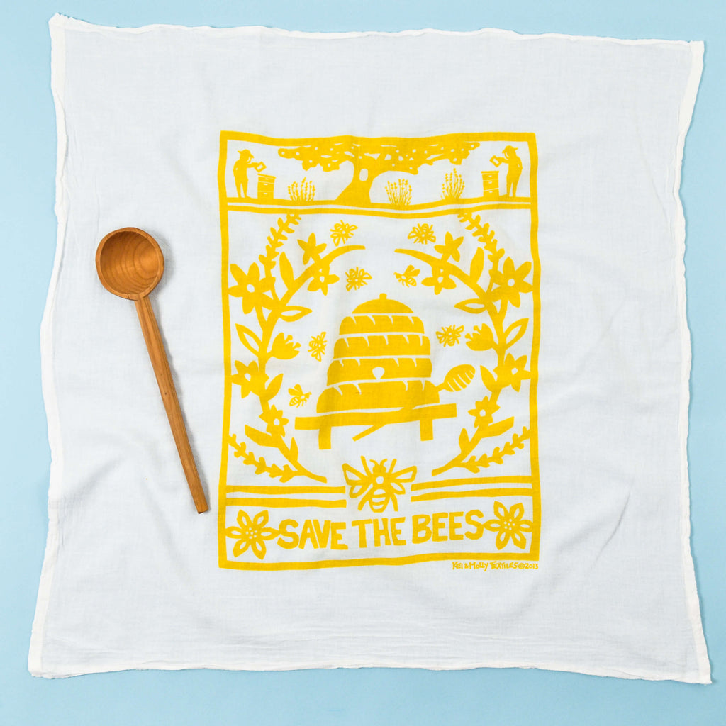 Kei & Molly Bees Flour Sack Dish Towel in Yellow Full View