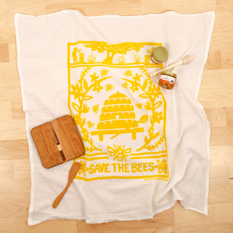 Kei & Molly Bees Flour Sack Dish Towel in Yellow with Props
