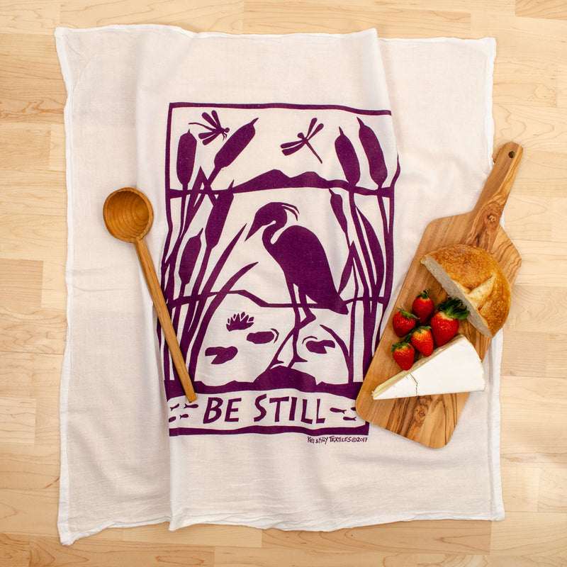 Kei & Molly Be Still Flour Sack Dish Towel in Grape with Props