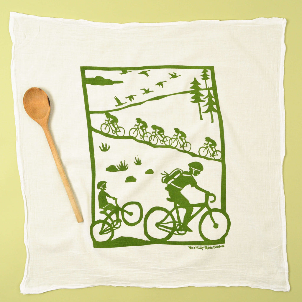 Kei & Molly Bikes Flour Sack Dish Towel in Green Full View