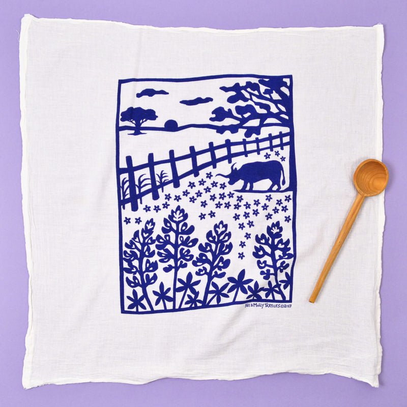 Kei & Molly Bluebonnets Flour Sack Dish Towel in Navy Full View
