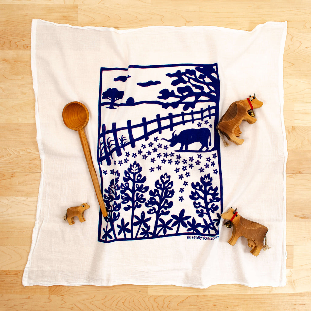 Kei & Molly Bluebonnets Flour Sack Dish Towel in Navy with Props