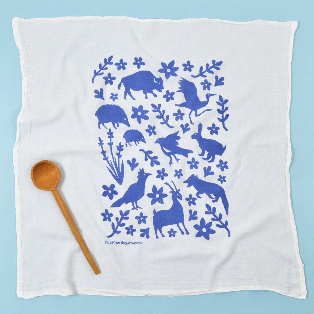 Kei & Molly Buffalo & Friends Flour Sack Dish Towel in Steel Blue Full View
