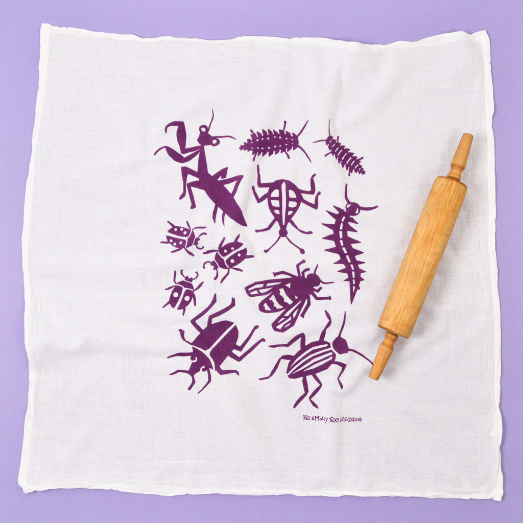 Kei & Molly Bugs Flour Sack Dish Towel in Grape Full View