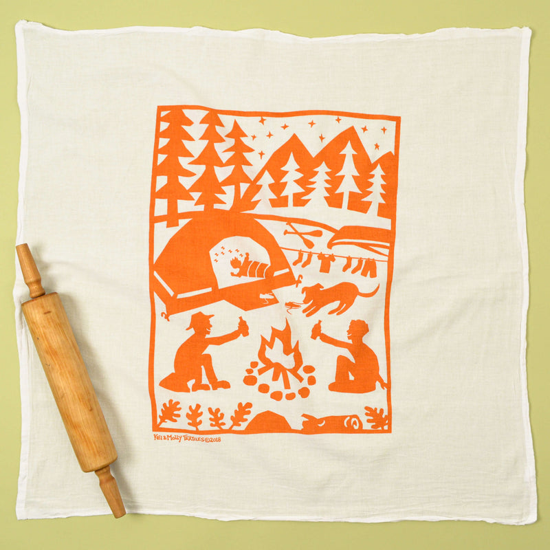 Kei & Molly Camping Flour Sack Dish Towel in Orange Full View