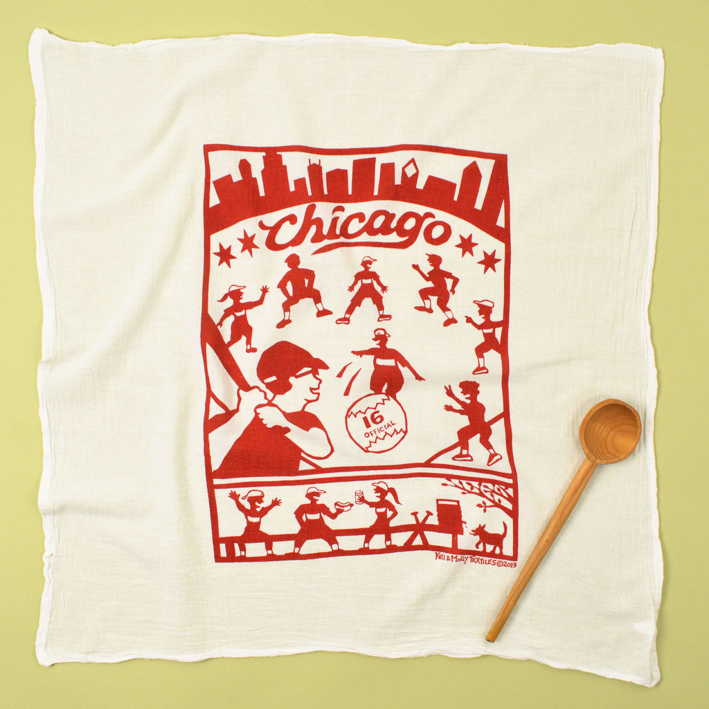 Kei & Molly Chicago Flour Sack Dish Towel in Red Full View
