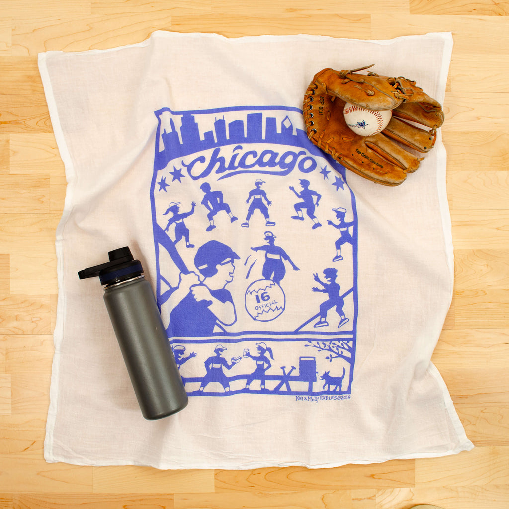 Kei & Molly Chicago Flour Sack Dish Towel in Sky Blue with Props