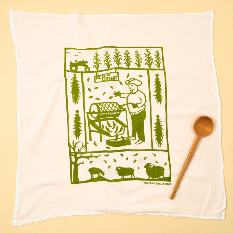 Kei & Molly Chile Roaster Flour Sack Dish Towel in Green Full View