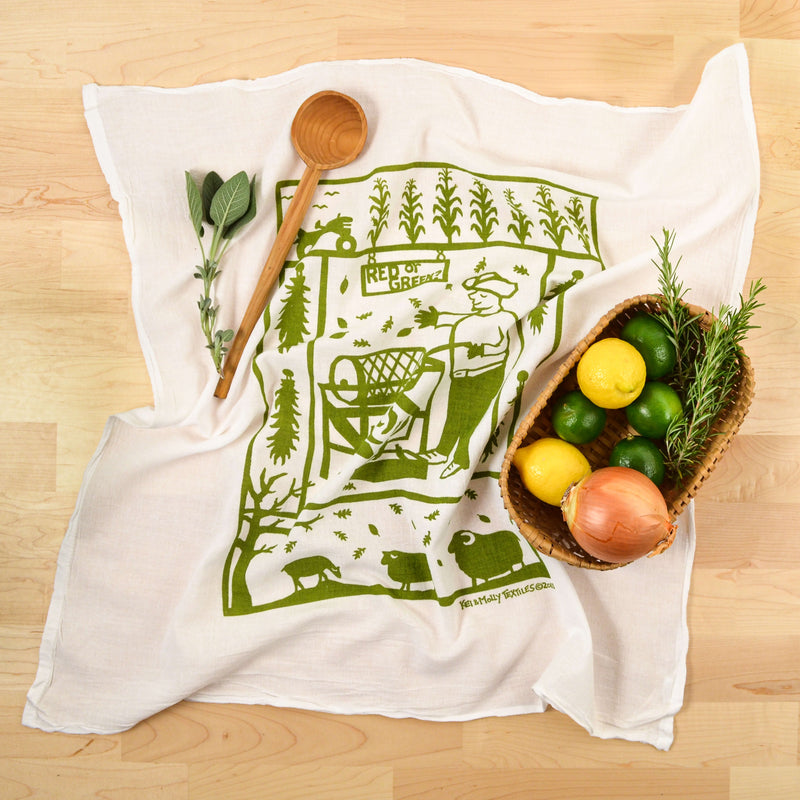Kei & Molly Chile Roaster Flour Sack Dish Towel in Green with Props