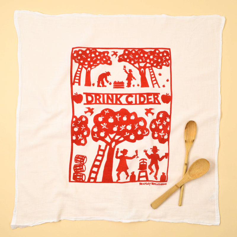 Kei & Molly Cider Flour Sack Dish Towel in Red Full View