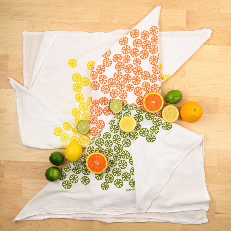 Kei & Molly Citrus Flour Sack Dish Towel in Yellow and Green with Props