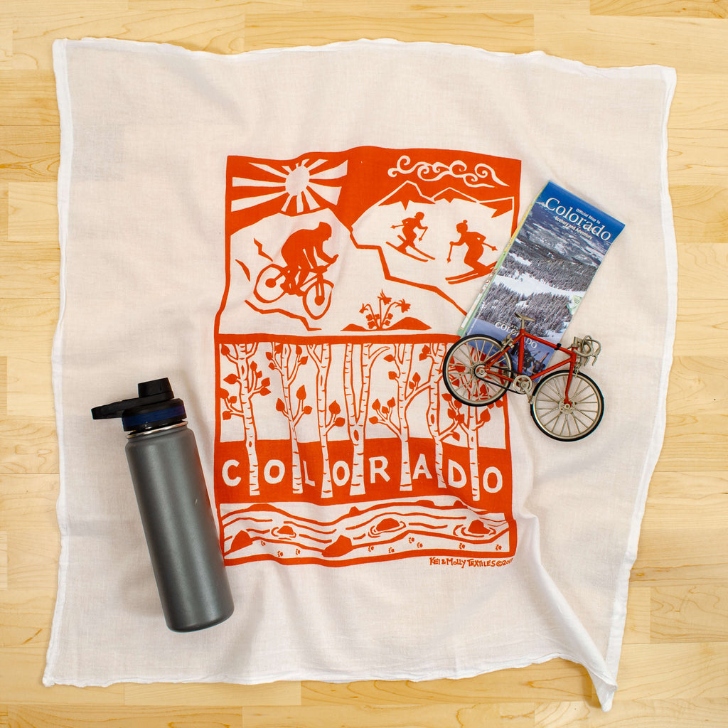 Kei & Molly Colorado Flour Sack Dish Towel in Orange with Props