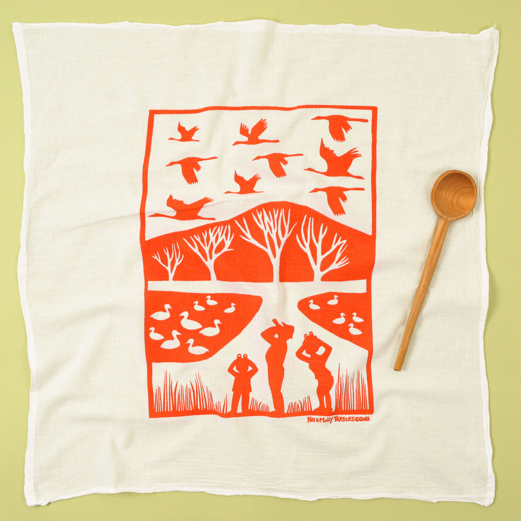 Kei & Molly Cranes Flour Sack Dish Towel in Burnt Orange Full View