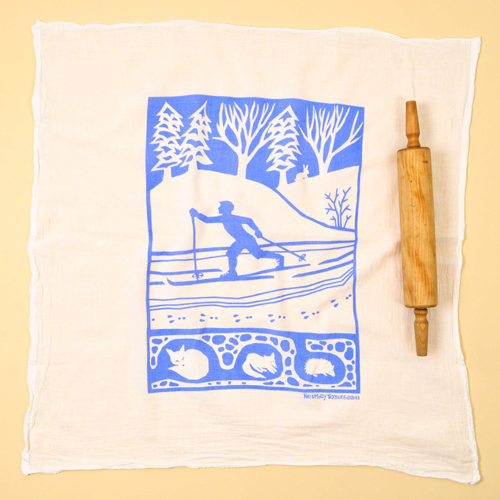 Kei & Molly Cross Country Flour Sack Dish Towel in Sky Blue Full View