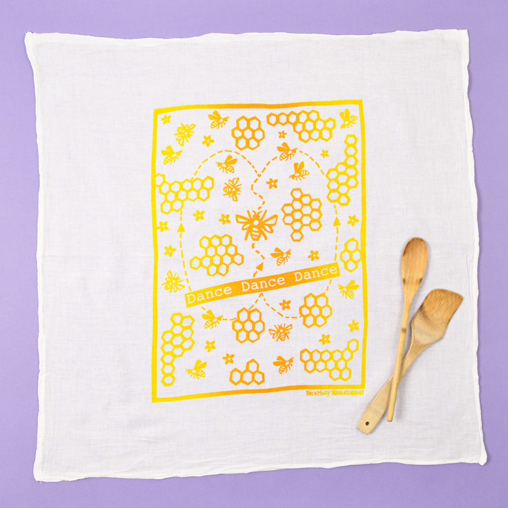 Kei & Molly Dance Dance Flour Sack Dish Towel in Two Tone Yellow/Squash Full View