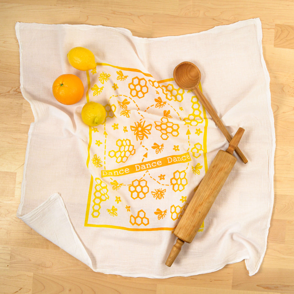 Kei & Molly Dance Dance Flour Sack Dish Towel in Two Tone Yellow/Squash with Props