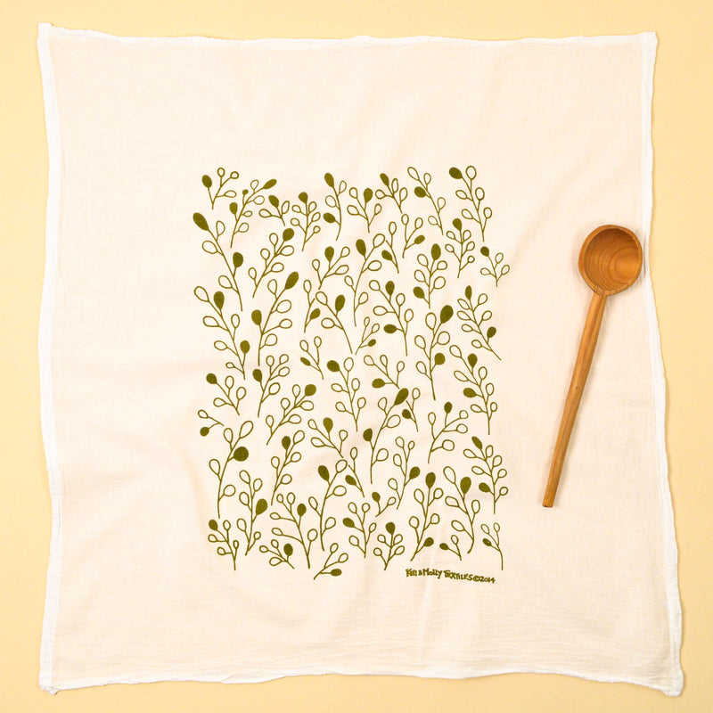 Kei & Molly Desert Sage Flour Sack Dish Towel in Olive Green Full View