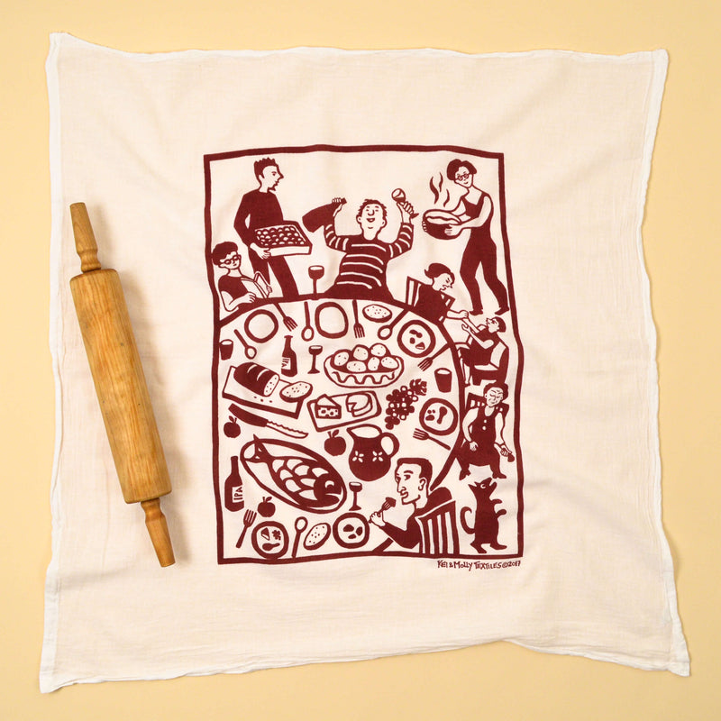 Kei & Molly Dinner Flour Sack Dish Towel in Wine Red Full View