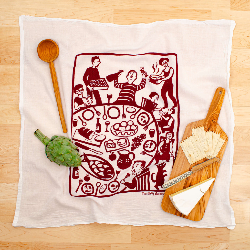 Kei & Molly Dinner Flour Sack Dish Towel in Wine Red with Props