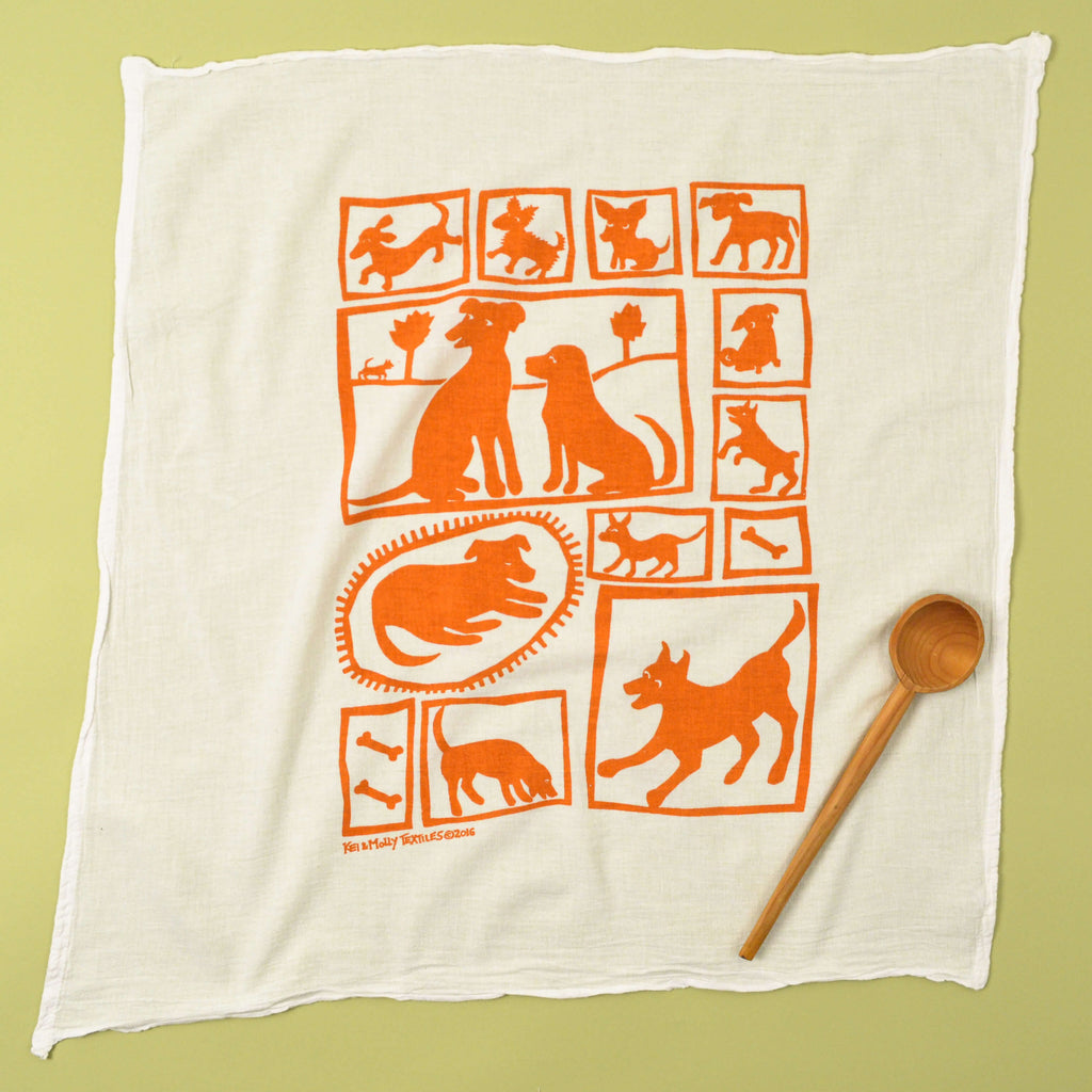 Kei & Molly Dogs Flour Sack Dish Towel in Orange Full View
