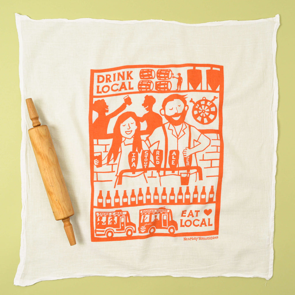 Kei & Molly Drink Local Flour Sack Dish Towel in Desert Coral Full View
