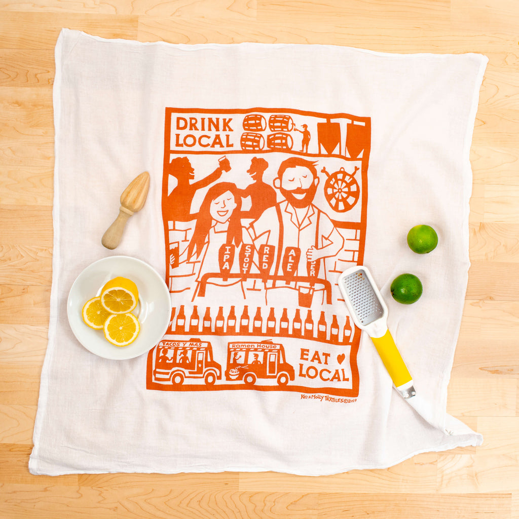Kei & Molly Drink Local Flour Sack Dish Towel in Desert Coral with Props