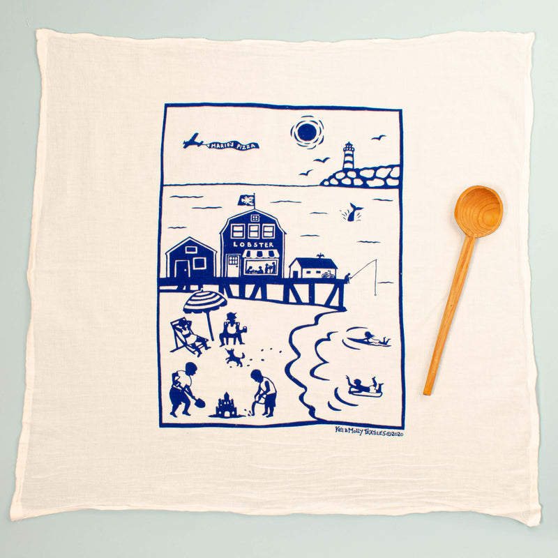 Kei & Molly Eastern Coastline Flour Sack Dish Towel in Indigo Full View