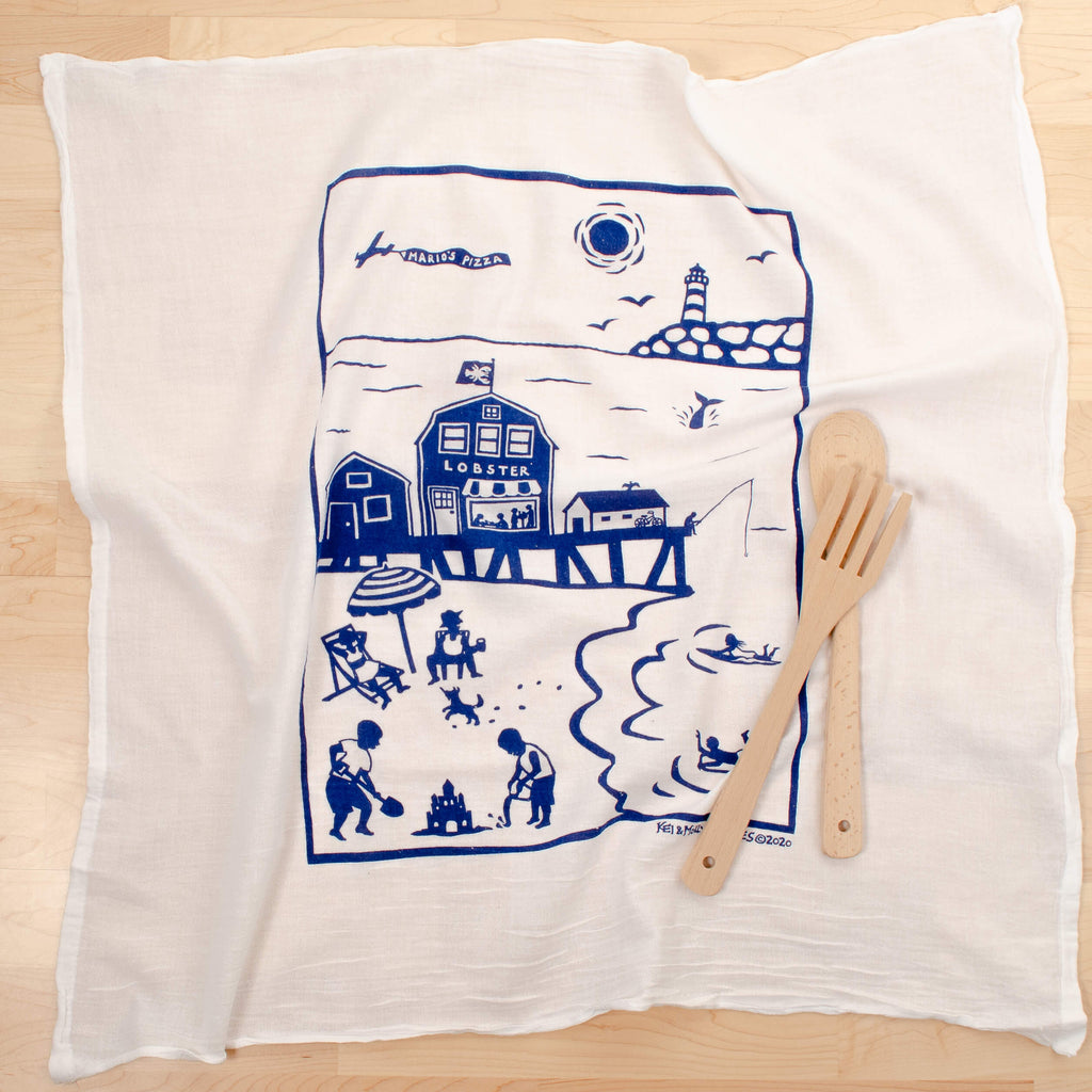 Kei & Molly Eastern Coastline Flour Sack Dish Towel in Indigo with Props