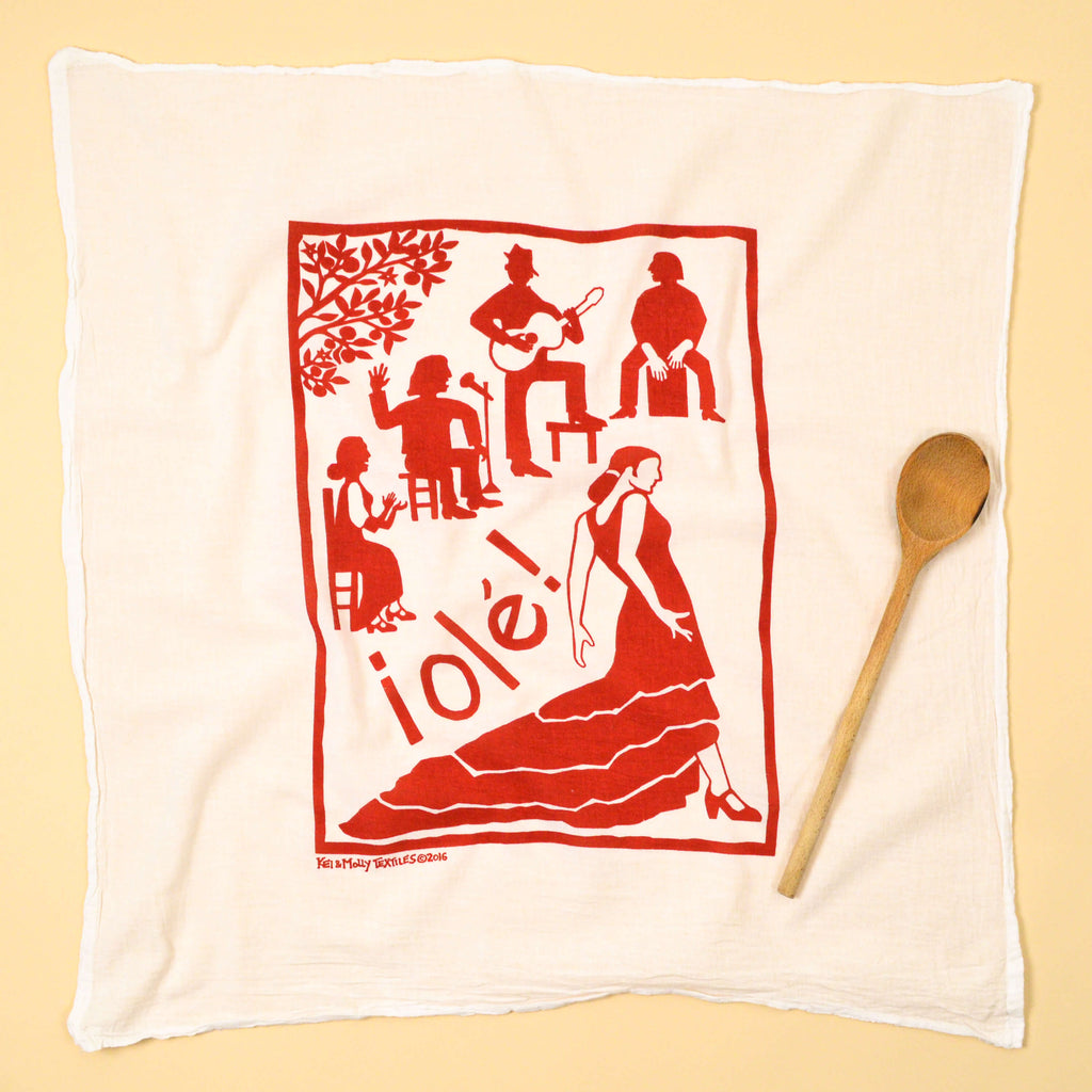 Kei & Molly Flamenco Flour Sack Dish Towel in Red Full View