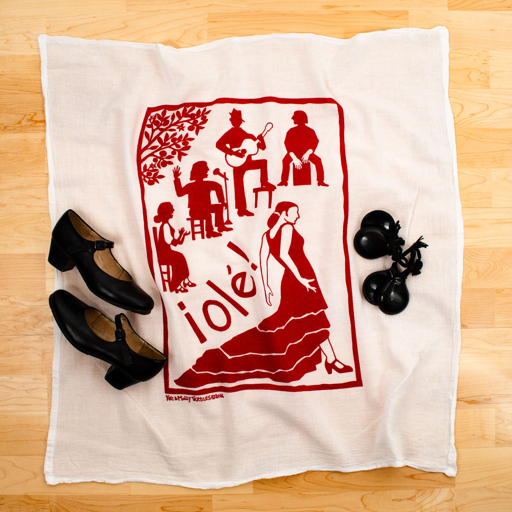 Kei & Molly Flamenco Flour Sack Dish Towel in Red with Props