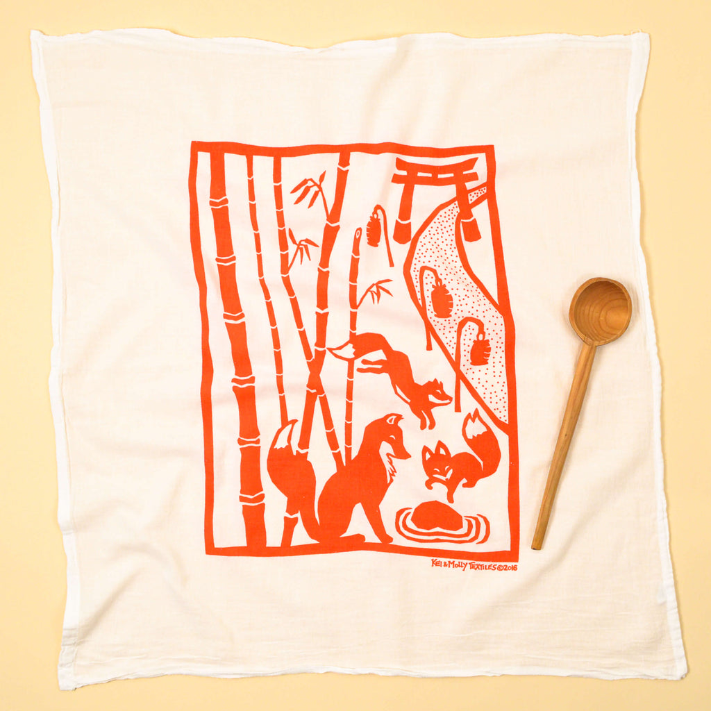 Kei & Molly Foxes Flour Sack Dish Towel in Burnt Orange Full View