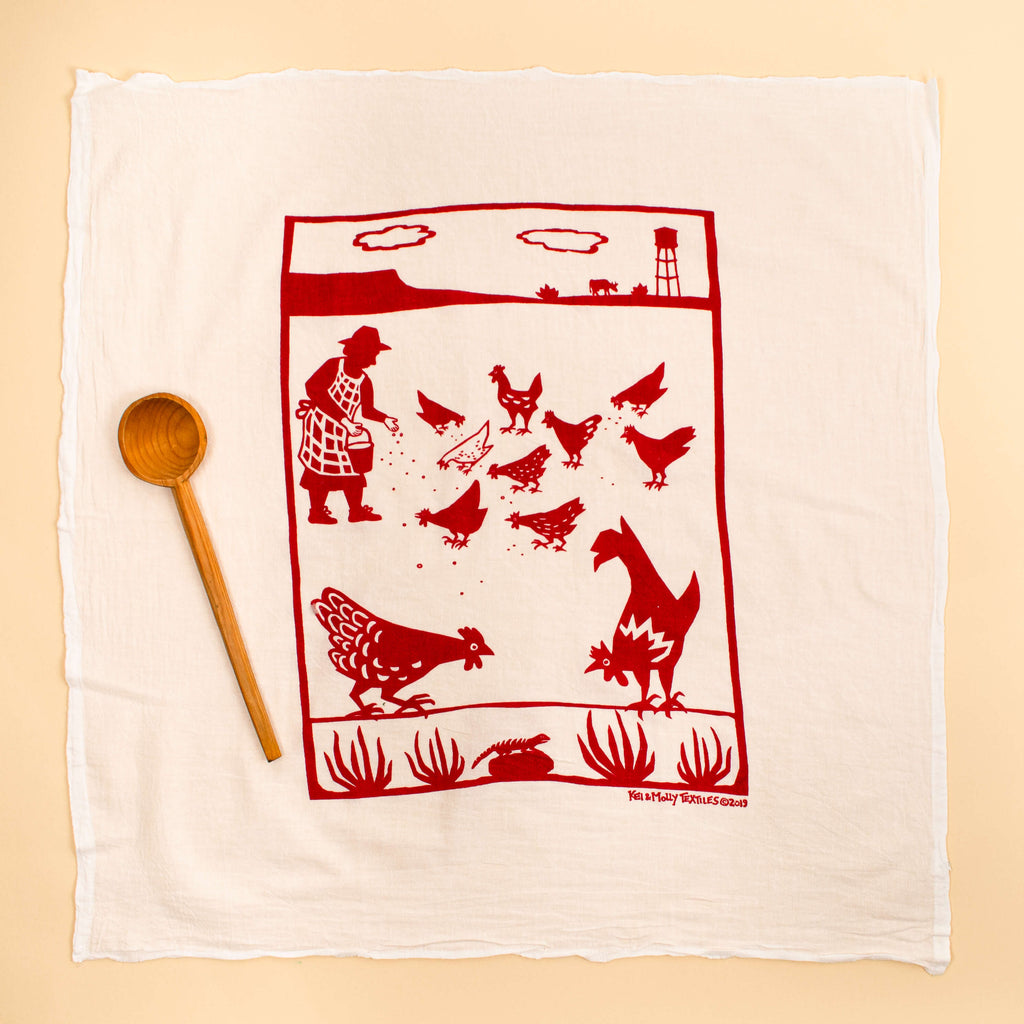 Kei & Molly Free Range Flour Sack Dish Towel in Red Full View