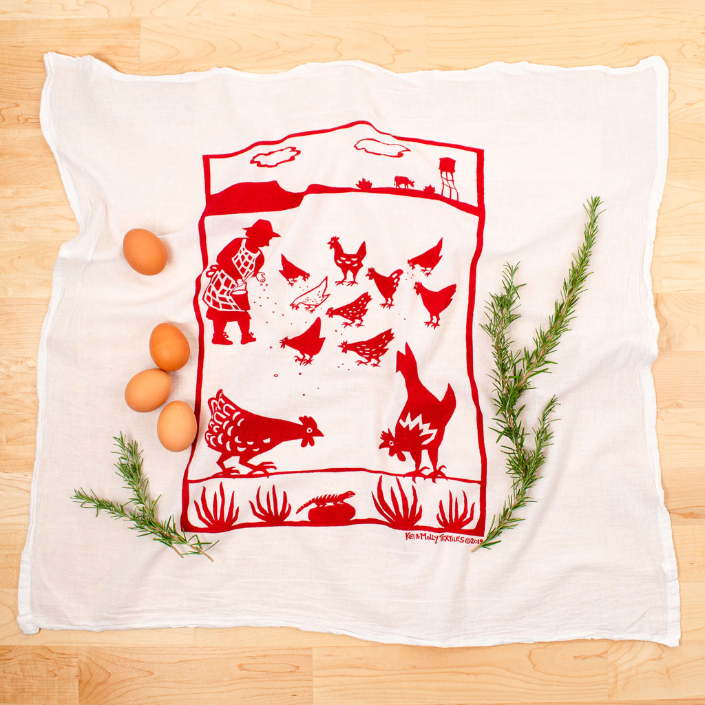 Kei & Molly Free Range Flour Sack Dish Towel in Red with Props