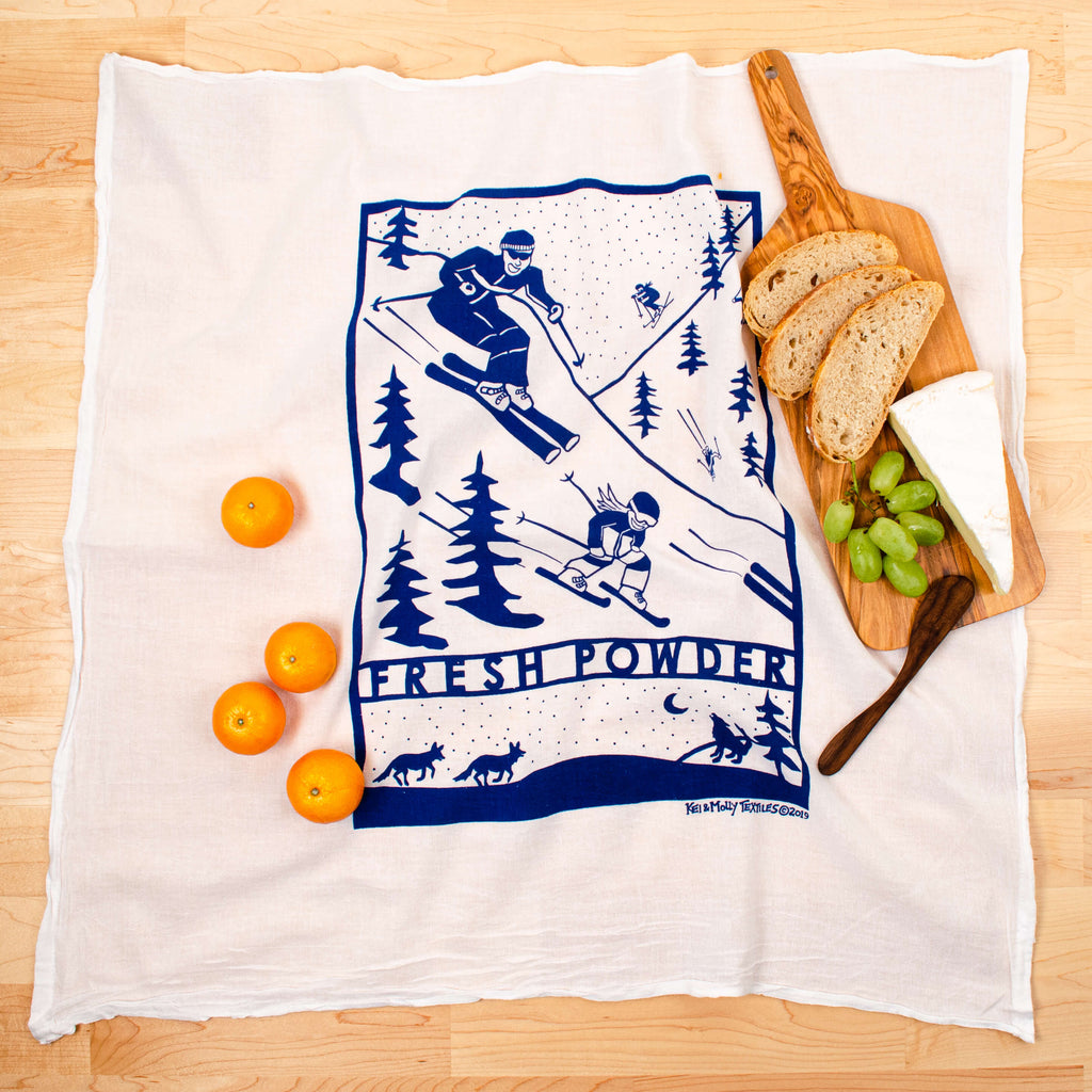 Kei & Molly Fresh Powder Flour Sack Dish Towel in Marine Blue with Props