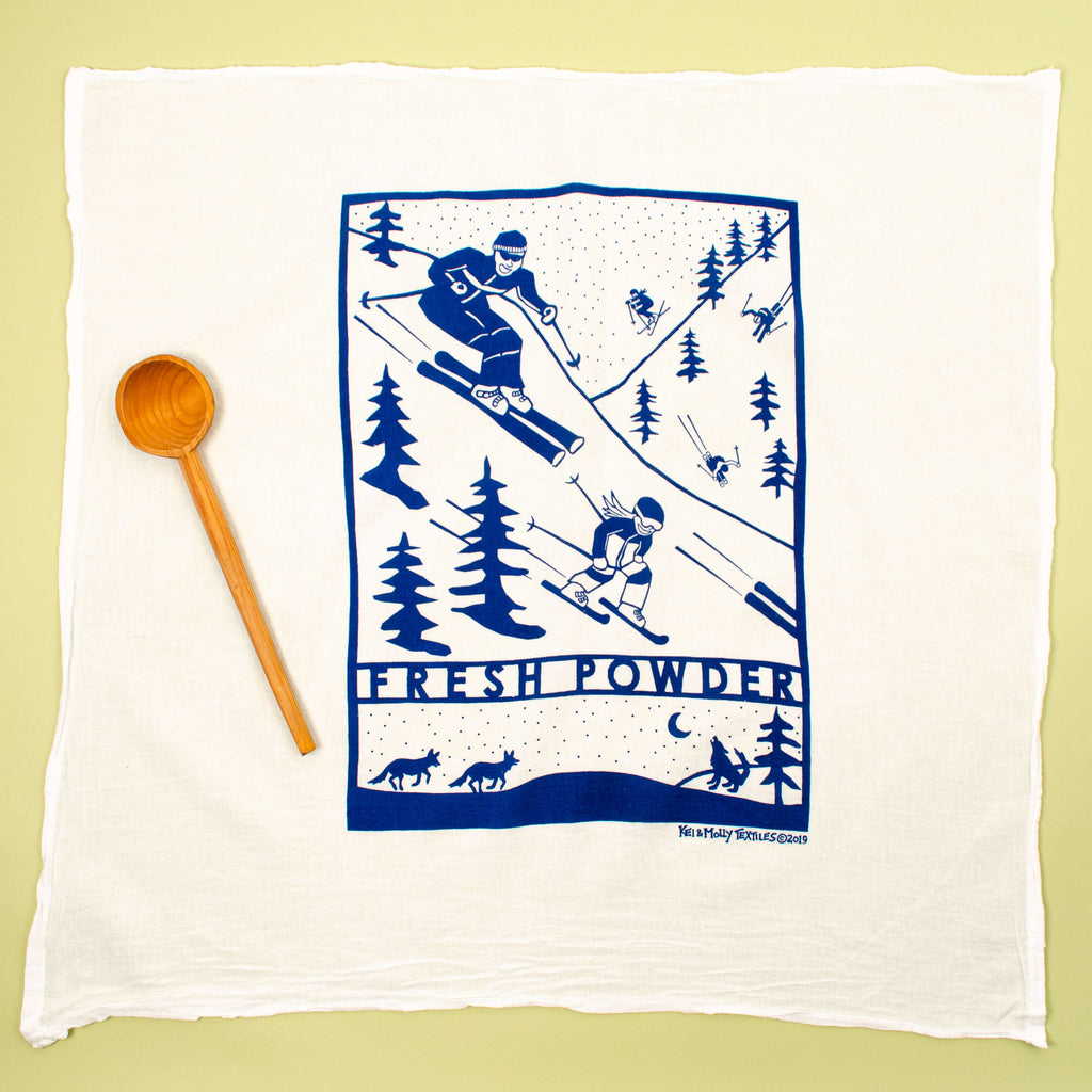 Kei & Molly Fresh Powder Flour Sack Dish Towel in Marine Blue Full View