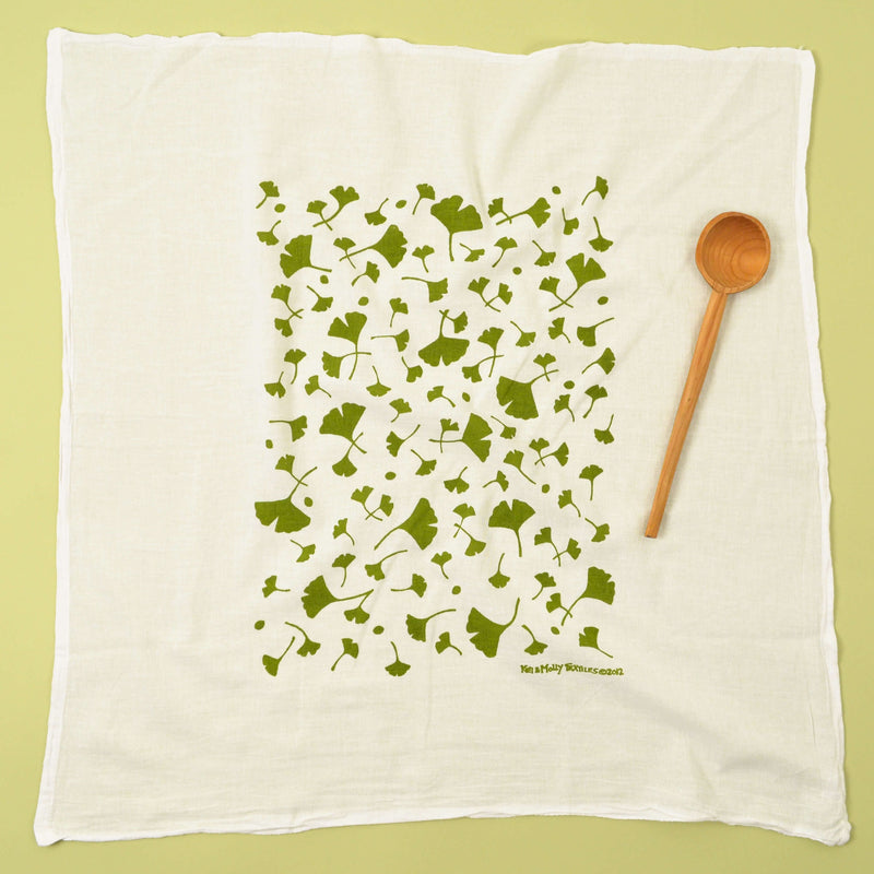 Kei & Molly Ginko Flour Sack Dish Towel in Green Full View