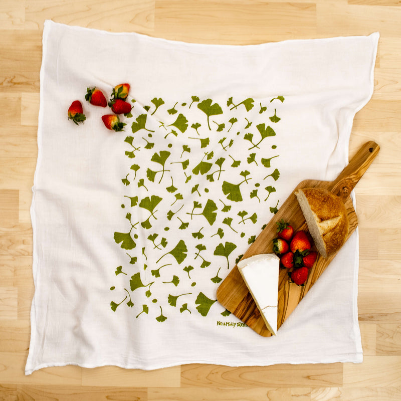 Kei & Molly Ginko Flour Sack Dish Towel in Green with Props